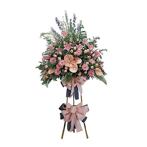 standing flower karangan bunga makassar